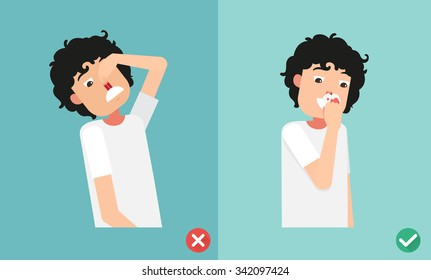 wrong and right for first aid for nasal bleeding, illustration, vector