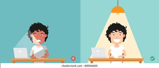 wrong and right for proper lighting in the room illustration, vector