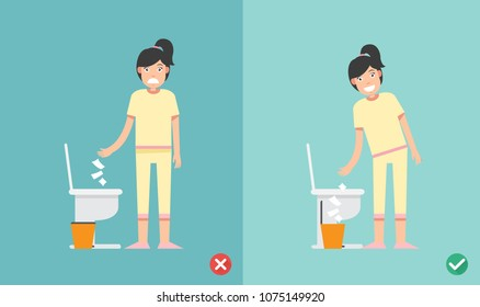 wrong and right way do not put tissue paper sheet into the toilet bowl illustration vector