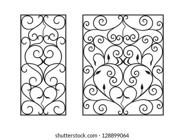 Wrought iron modules, usable as fences, railings, window grilles  isolated on white background