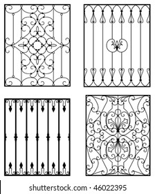 Wrought iron modules, usable as fences, railings, window grilles...