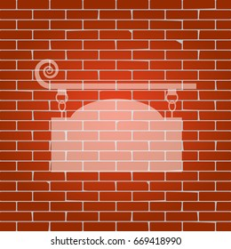 Wrought iron sign for old-fashioned design. Vector. Whitish icon on brick wall as background.