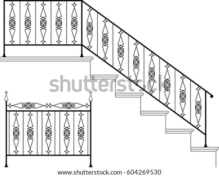 Wrought Iron Stair Railing Design Vector Stock Vector Royalty Free