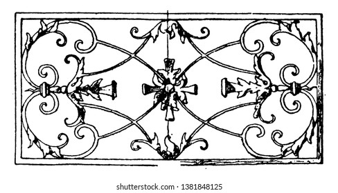 Wrought-Iron Oblong Panel is a 17th century design found in a house in Freiburg, vintage line drawing or engraving illustration.