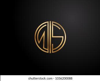 WS circle Shape Letter logo Design in gold color