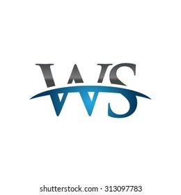WS initial company blue swoosh logo