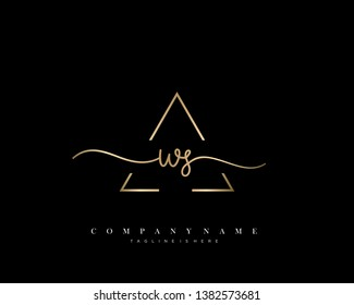 WS initial handwriting logo template vector