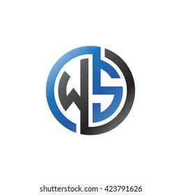 WS initial letters looping linked circle logo blue black