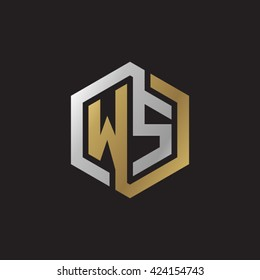 WS initial letters looping linked hexagon elegant logo golden silver black background