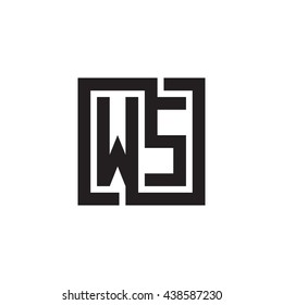 WS initial letters looping linked square monogram logo