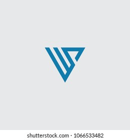 ws initial logo vector, triangle.