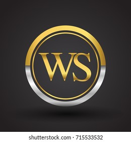 WS Letter logo in a circle, gold and silver colored. Vector design template elements for your business or company identity.