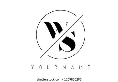WS Letter Logo with Cutted and Intersected Design and Round Frame Vector Illustration