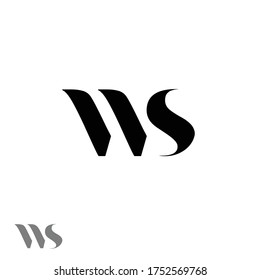 WS letter logo or W S initials design in vector format.