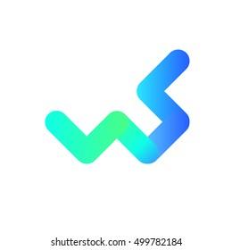ws letter symbol icon vector clip art logotype