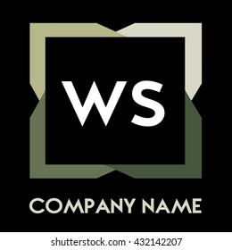 WS letters business logo creative  icon design template elements in abstract background logo, design identity in square with four colors, modern alphabet letters