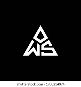 WS monogram logo with 3 pieces shape isolated on triangle design template