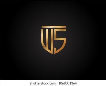WS shield shape Letter Design in gold color