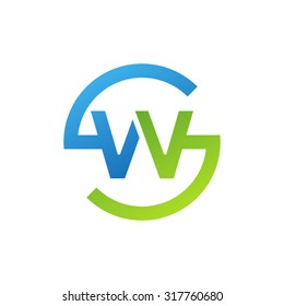 WS SW initial company circle S logo blue green