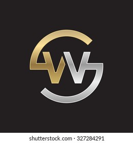 WS or SW letters, golden silver circle S shape