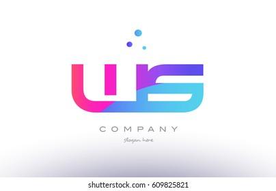 ws w s  creative pink purple blue modern dots creative alphabet gradient company letter logo design vector icon template