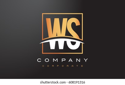 WS W S Golden Letter Logo Design with Swoosh and Rectangle Square Box Vector Design.