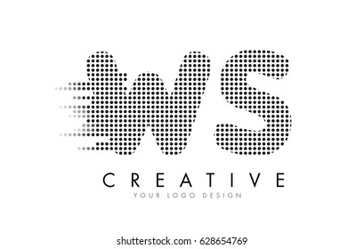 WS W S Letter Logo Design with Black Dots and Bubble Trails.