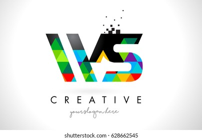 WS W S Letter Logo with Colorful Vivid Triangles Texture Design Vector Illustration.