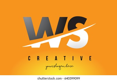 WS W S Letter Modern Logo Design with Swoosh Cutting the Middle Letters and Yellow Background.