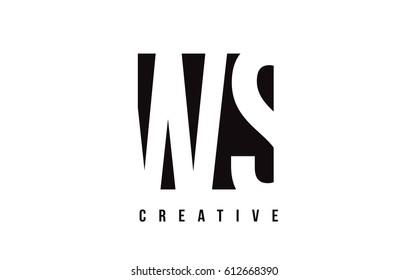 WS W S White Letter Logo Design with Black Square Vector Illustration Template.