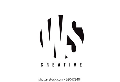 WS W S White Letter Logo Design with Circle Background Vector Illustration Template.