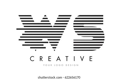 WS W S Zebra Letter Logo Design with Black and White Stripes Vector