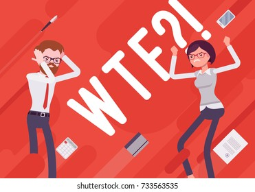 WTF. Business demotivation poster. Quate of outraged surprise, recklessness, confusion, or bemusemen in the office. Vector flat style cartoon illustration on red background