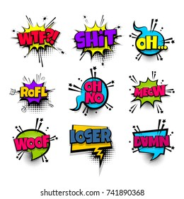 wtf shit meow woof loser set lettering. Comics book balloon. Bubble icon speech pop art phrase. Cartoon font label tag expression. Comic text sound effects. Vector illustration.