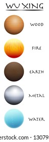 Wu Xing. Wood, fire, earth, metal and water. Five Elements balls. Traditional Chinese Taoism symbols. Three-dimensional isolated vector illustration on white  background.