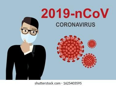 Wuhan coronavirus 2019-nCoV concept.Dangerous chinese nCoV coronavirus, SARS pandemic risk alert. Chinese virus. Vector illustration