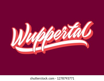 Wuppertal hand made calligraphic lettering in original style. European city typographic script font for prints, advertising, identity. Hand drawn touristic art in high quality. Travel and adventure