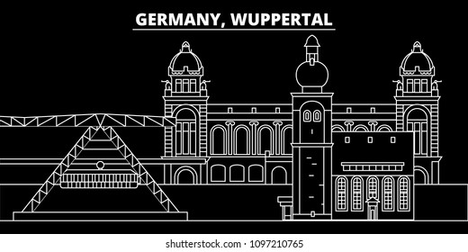 Wuppertal silhouette skyline. Germany - Wuppertal vector city, german linear architecture, buildings. Wuppertal travel illustration, outline landmarks. Germany flat icons, german line banner