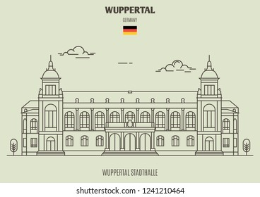 Wuppertal Stadthalle in Wuppertal, Germany. Landmark icon in linear style