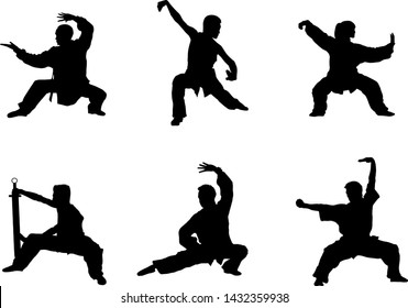 Wushu, kung fu, Taekwondo, Aikido. Silhouette of people isolated on white background. Sports positions. Design elements and icons. Fighting stance. Vector illustration.