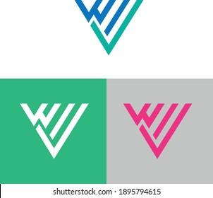 Wv latter minimalist logo design