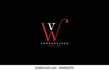 WV VW W AND V Abstract initial monogram letter alphabet logo design