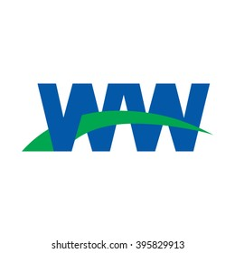 WW initial overlapping swoosh letter logo blue green