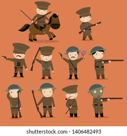 WW1 british soldier cartoon set vector illustration.