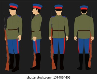 WW1 Russian Don Cossack Army uniform with bayonet and rifle isolated vector.