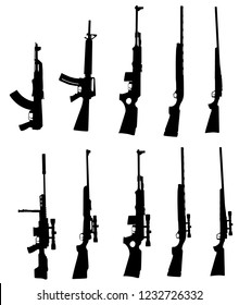 WW2, American and Russian rifle collection vector silhouette illustration isolated on white background. Sniper rifle symbol silhouette, semi automatic, carbine. Army and police weapons.