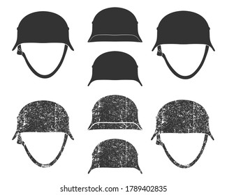 WW2 german style war helmet silhouette symbol. WWII steel helmet logo icon. Vector illustration image. Isolated on white background.