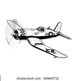 WW2 warbird BW vector illustration