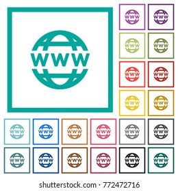 WWW globe flat color icons with quadrant frames on white background