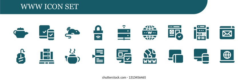 www icon set. 18 filled www icons.  Simple modern icons about  - Tea pot, Responsive, Mouse, Padlock, Server, Internet, Web, Web site, Website, Page, Www